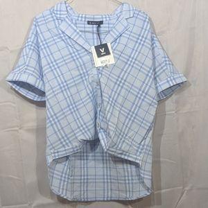 Plaid oversized blouse